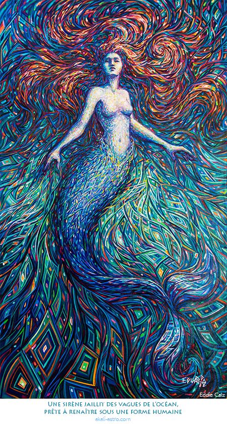 Une sirène jaillit des vagues de l'océan, prête à renaître sous une forme humaine