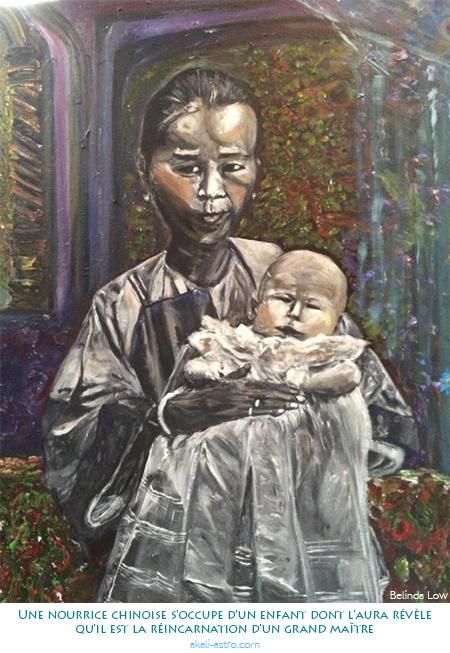 Une nourrice chinoise s'occupe d'un enfant dont l'aura révèle qu'il est la réincarnation d'un grand maître