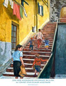 Une mère accompagne son enfant pas à pas au sommet d'un escalier assez raide
