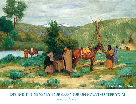 Des indiens dressent leur camp sur un nouveau territoire