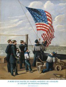 A bord d'un navire les marins amènent les couleurs et hissent un nouveau drapeau
