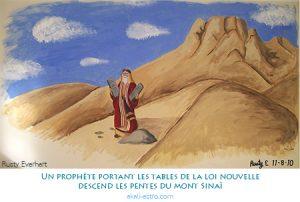 Un prophète portant les tables de la loi nouvelle descend les pentes du mont Sinaï