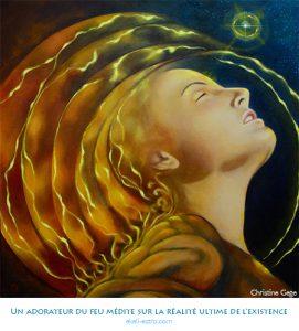 Un adorateur du feu médite sur la réalité ultime de l'existence
