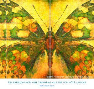 Un papillon avec une troisième aile sur son côté gauche