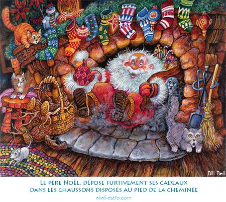 Le père Noël, dépose furtivement ses cadeaux dans les chaussons disposés au pied de la cheminée