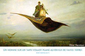 Un homme sur un tapis volant plane au-dessus de vastes terres
