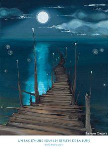 Un lac d'huile sous les reflets de la lune