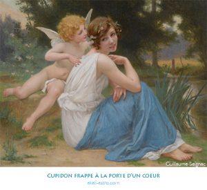 Cupidon frappe à la porte d'un coeur