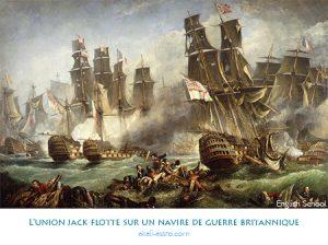 L'union jack flotte sur un navire de guerre britannique