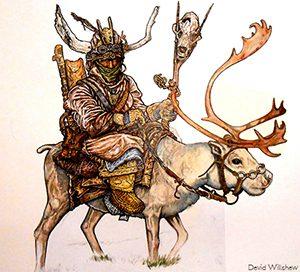 Un explorateur emmitouflé dans une épaisse fourrure conduit un cerf hirsute