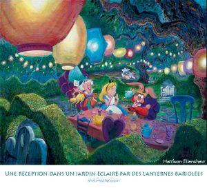 Une réception dans un jardin éclairé par des lanternes bariolées