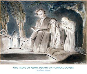 Une veuve en pleurs devant un tombeau ouvert