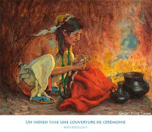 Un indien tisse une couverture de cérémonie