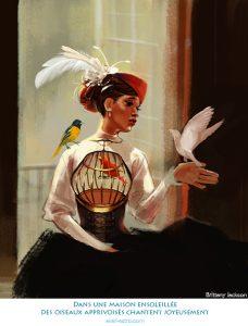 Dans une maison ensoleillée des oiseaux apprivoisés chantent joyeusement