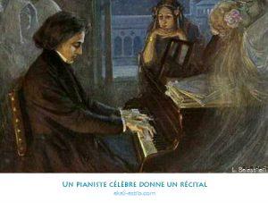 Un pianiste célèbre donne un récital