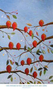 Une myriade de piafs sur la branche d'un gros arbre