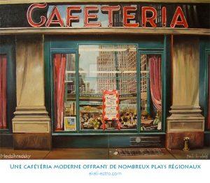 Une cafétéria moderne offrant de nombreux plats régionaux