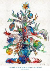 Un arbre de Noël paré de tous ses ornements