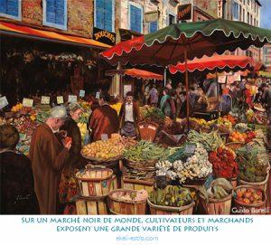 Sur un marché noir de monde, cultivateurs et marchands exposent une grande variété de produits