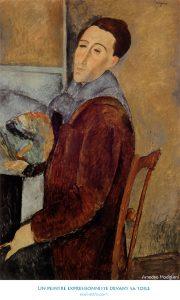 Un peintre expressionniste devant sa toile