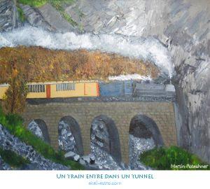 Un train entre dans un tunnel