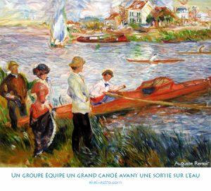 Un groupe équipe un grand canoé avant une sortie sur l'eau