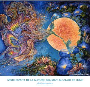 Deux esprits de la nature dansent au clair de lune